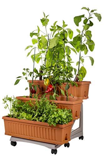Bama Orto 3 pots de fleurs jardin kit avec chariot, 80 x 74 x 73 cm 80x74x73 cm terre cuite