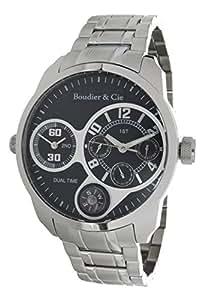 Boudier & Cie Herren World Timer Kingsize Collection Automatik Armbanduhr mit multifunktionalem Zifferblatt - Analoge Anzeige - Armband und Gehäuse aus Edelstahl Größe XL - OZG1077