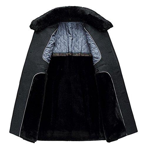 iisport Single-breasted manteau pour homme - longues sections Nagymaros col - plus cachemire épais - manteau de laine Noir
