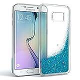 EAZY CASE GmbH Hülle für Samsung Galaxy S6 Edge Schutzhülle mit Flüssig-Glitzer, Handyhülle, Schutzhülle, Back Cover mit Glitter Flüssigkeit, aus TPU/Silikon, Transparent/Durchsichtig, Blau