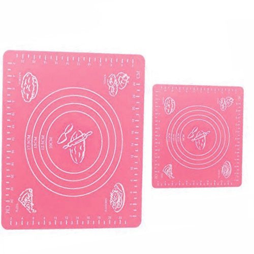 Minchsrin Silicone Pastry Mat with Measurements, Pastry Rolling Mat, Reusable Non-Stick Silicone Baking Mat, Set of 2, 2 Sizes?5.7''x19.7''&11.25''x10.25'')Pink by Minchsrin Non Stick Rolling Mat
