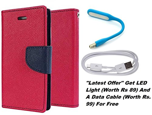 Delkart Book Style Flip Cover With Free Led Light And Data Cable For Sony Xperia Z3 Plus/ Z4 (Pink)  available at amazon for Rs.229