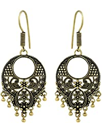 Spargz Buddha German Silver Antique Gold Plated Artificial Jewellery Jhumki Earrings For Women And Girls AIER...