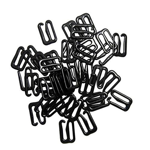 perfk BH-Träger Zubehör Bikiniverschluss BH Clips Verschluss - Black, 15mmx12mm Hook -