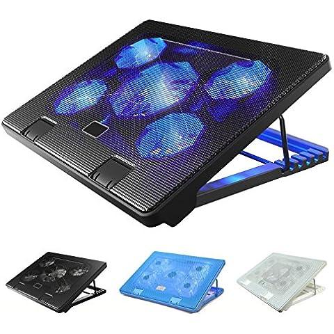 Laptop Enfriador Ventilador para portátil Cooler Soporte fría Laptop Cooling Pad, Alfombrilla de refrigeración 12–17pulgadas enfriador Pad Chill Mat 5tranquila Fan luces LED con 2puertos USB 2.0Ángulo de Stand Altura Ajustable (Negro)