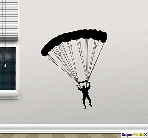 Fallschirmspringer Skydive Basejump 60x60 Wandtattoo Aufkleber Decal von SUPERSTICKI® aus Hochleistungsfolie für alle glatten Flächen UV und Waschanlagenfest Profi Qualität (Eingetragen Cash)