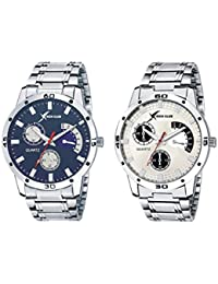Rich Club Analogue Silver Blue Dial Men's Watches (Set Of 2)