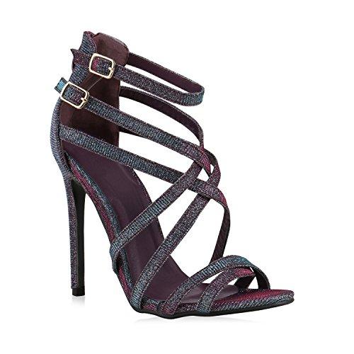 Damen Strass Sandaletten Stiletto High Heels Party Braut Hochzeit Abschlussball Nieten Prints Schuhe 128105 Mehrfarbig 38 Flandell