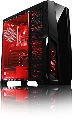 VIBOX Pyro GS770-217 PC Gamer - 4,2GHz Intel i7 Quad Core CPU, GTX 1070, VR prêt, Ordinateur PC de Bureau Gaming paquet de jeux, unité centrale, Éclairage Interne Rouge (3,6GHz (4,2GHz Turbo) Processeur CPU Quad 4-Core Intel i7 7700 Kabylake Ultra Rapide, Carte Graphique Haute Performance Nvidia GeForce GTX 1070 8 Go, 8 Go Mémoire RAM DDR4 2133MHz Grande Vitesse, Disque Dur Sata III 7200rpm 1 To (1000 Go), PSU 600W 85+, Boîtier Gamer Storm Rouge, Pas de Système d'Exploitation Windows)