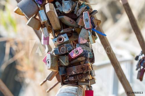 Leinwand Attache (druck-shop24 Wunschmotiv: Lot de cadenas attaché à UNE rambarde par Tradition #214668013 - Bild auf Leinwand - 3:2-60 x 40 cm / 40 x 60 cm)