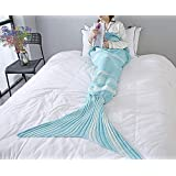 "ChezMax Knitting Wool Mermaid Tail Blanket Soft Thick Sleeping Bag For Living Room Birthday Christmas Gift For Girls Sky Blue 27.6""x 55.1"""