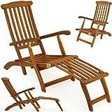 Sonnenliege Queen Mary | Akazien Holz | Verstellbare Rückenlehne | Abnehmbares Fußsegment| Zusammenklappbar | Sonnenstuhl Deckchair Holzliege Gartenliege Liegestuhl Liege