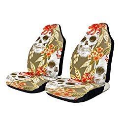 Car Seat Covers Halloween Skull Mexican Style Skeleton Floral Protector Cushion Premium Cover for Women Men Girls Boys Fits Most Cars Truck SUV Van-1PCS