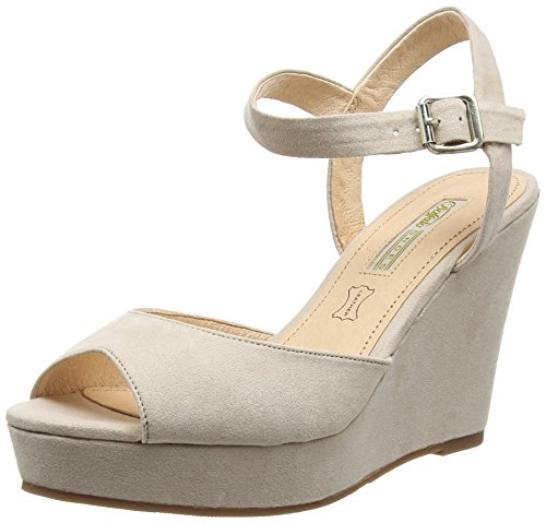 Buffalo Shoes C189B-5A S0015L IMI SUEDE, Damen Plateau Sandalen, Beige (BEIGE 01), 39 EU
