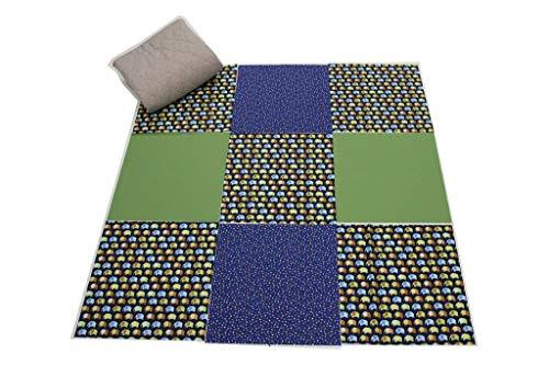 Pinidi/DIY Costura Fácil Patchwork Baby Manta, Incluye Instrucciones/Ökotex 100/90cmx90cm/Elefantes Sobre Azul/Edredón plástico...