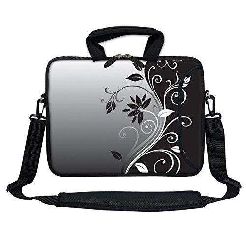 Meffort Inc 33cm Neopren-Laptoptasche mit Extra Seitenfach, Weiche Tragegriffe, Abnehmbarer Schultergurt für 12,5bis 33,8cm Größe Chromebook Ultrabook Gray Black Swirl
