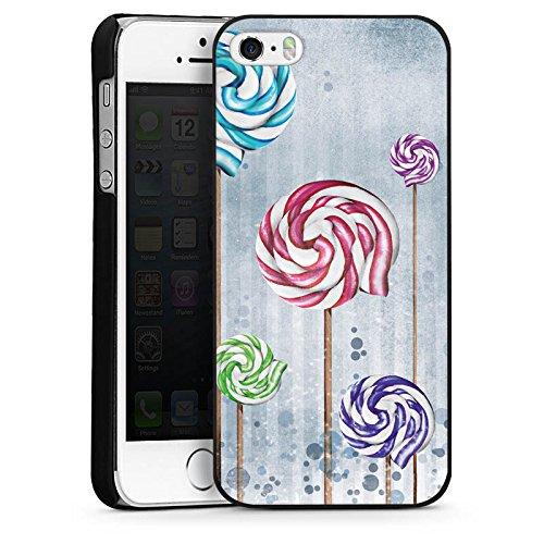 Apple iPhone 5s Housse Étui Protection Coque Lollipop Sucette couleurs CasDur noir