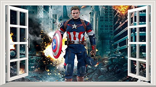 Marvel Avengers Superheld V304selbstklebend 3D Magic Wandtattoo Fenster Poster Wall Art Größe 1000mm breit x 600mm tief (groß) (Marvel Avengers-fenster Aufkleber)