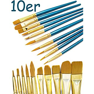 HOMETOOLS.EU® - 10er Pinsel-Set | Aquarell- Pinsel Wasser-Farben blauer Griff | Mal-Pinsel Schul-Pinsel Zeichen-Pinsel | 10-teilig