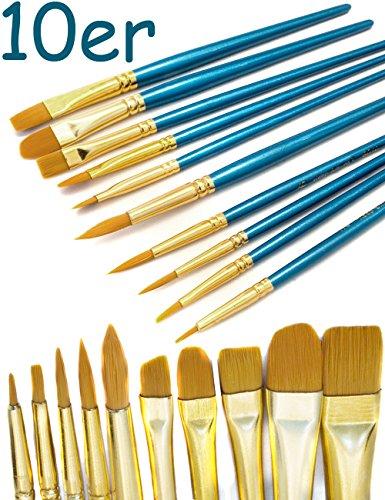 HOMETOOLS.EU® - 10er Pinsel-Set | Aquarell- Pinsel Wasser-Farben blauer Griff | Mal-Pinsel...