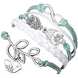 MARENJA Bracelet en Cuir VERT CLAIR et BLANC Tisse Fait Main Tresse avec Motif de Metal en Forme Colombe de Paix Rameau d'Olivier Hibou Taille 15-20cm