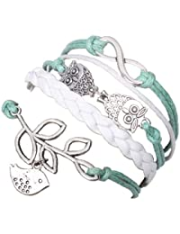 MARENJA Fashion-Green and White Leather and Wax Cord Braided Woven Bracelet with Retro Metal Owls and Olive Branch Dove of Peace Infinity Sign 15-20cm