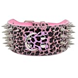 7.5cm Plus Breit Spitznieten Nieten PU Leder Halsbänder Hundehalsband XL XXL XXXL für große Hunde Hunter, Pink Leopard XXL