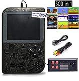 Flybiz Consoles De Jeux Portable, Console de Jeu Retro FC, Console de Jeu vidéo pour système de Divertissement, 3 Pouces 500 Classique Jeux, Chargement USB, Grand Cadeau pour Les Enfants(2P-Noir)