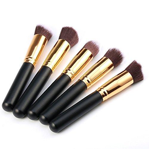 Kelis 5 Pcs / Set Gros Kit De Brosse À Maquillage Mixage De La Fondation Cosmétique (noir doré)