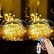 مصابيح جنية LED من إمتموري، قطعتان بطول 10 متر و100 ليد USB مقاومة للماء مع مفتاح، سلسلة إضاءة للأسلاك النحاسي