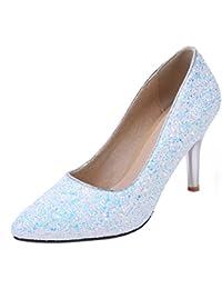 Coolulu Mujer Zapatos de Tacón Alto y Fino Puntiagudo con Brillantes Punta  Cerrada Fiesta y Boda para Novia Slip… 768733e0177