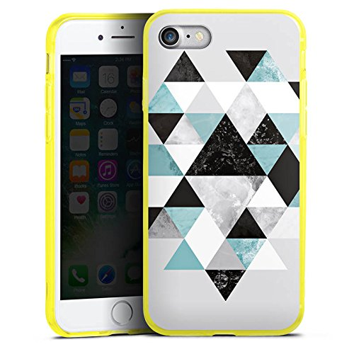 Apple iPhone 7 Silikon Hülle Case Schutzhülle Triangle Grafik Dreiecke Silikon Colour Case gelb