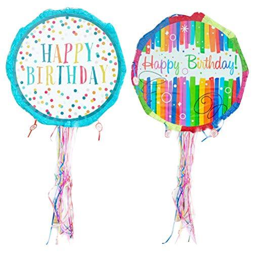 Sue-Supply Runde Pinata Spielzeug Für Geburtstag Runde Dot Pinata Regenbogen Streifen Pinata Pull String Für Kinder Geburtstag Hochzeit