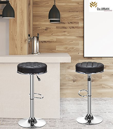 Da URBAN (Set of 2) Height Adjustable Katli Stool (Black)- Kitchen Stool/Office Stool/Chair/ Cafeteria Stool/Bar Stool,ISO and BIFMA Certified