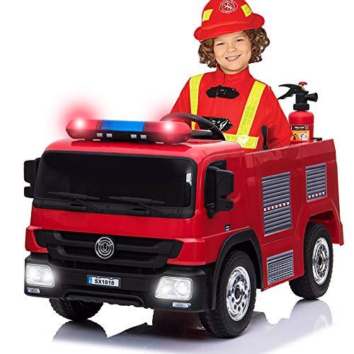 BAKAJI Auto elettrica per Bambini Camion dei Pompieri Potenza 12 V con Luci Suoni Fari LED Sirena Funzionante Porte Apribili Estintore Casco Vigili del Fuoco e Zaino Pistola Acqua