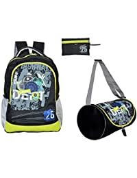 AVON HIGHWAY PATROL 30 LITRES BLACK & GREEN SCHOOL BAG COMBO SET OF 3