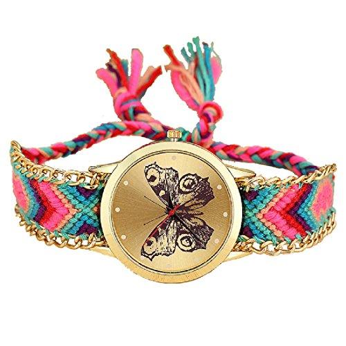 Freny Exim Fabric Multicolor Belt Beautiful Butterfly Dial Bracelet Women Analog Watch - for Girls