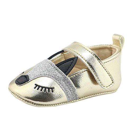 Babyschuhe Longra Baby Mädchen Fox-Muster Krippe schuhe Weiche Bootsschuhe alleinige Anti Rutsch Turnschuhe Lauflernschuhe(0 ~ 18 Monate) (12CM 6 ~ 12 Monate, Gold)