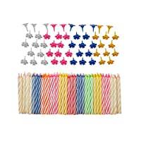 Decorative 152 Pc Birthday Candles Set with easy-to-use Holders angel flames with coloured Birthday Cake Party Candles - Multi Coloured