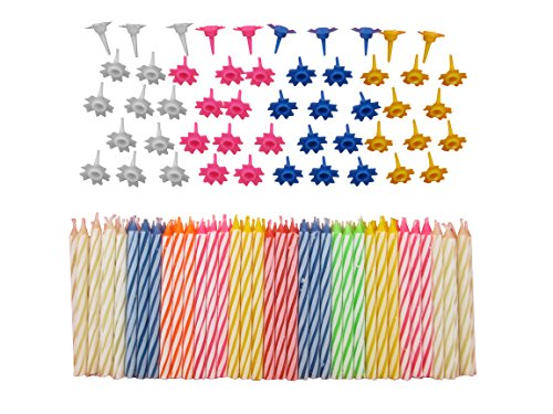 décoratifs 152 PC Ensemble de bougies d'anniversaire avec supports faciles à utiliser Ange flammes colorés avec gâteau d'anniversaire Bougies de fête – Multicolore