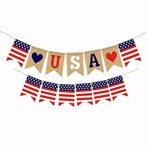 Lora Rossie Sackleinenbanner American Independence Day Patriotische Dekoration Feiern Party Supplies für 4. Juli (4. Von Juli-party-spiele)