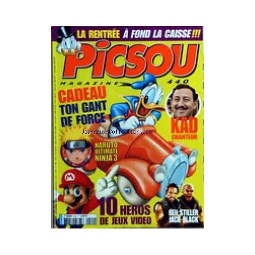 PICSOU MAGAZINE [No 440] du 01/09/2008 - KAD CHANTEUR - NARUTO ULTIMATE NINJA 3 - 10 HEROS DE JEUX VIDEO - BEN STILLER JACK BLACK