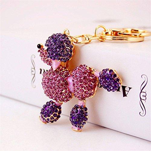 jewelbeauty Cute Animal Pudel Hunde Sparkling Blingbling Diamant Kristall Strass Schlüsselanhänger Schlüsselanhänger Handtasche Tasche Auto Anhänger zum Aufhängen Charme violett (Schlüsselanhänger Diamant-ring)