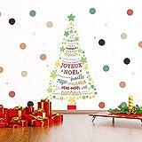 Natale Decorazioni murali adesivi da muro 'retro Magic albero di Natale con scritta in francese citazioni decalcomanie soggiorno bambini scuola materna ristorante hotel arredamento