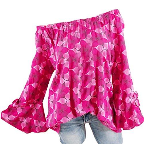 Vovotrade Blusen Hemden Tops,Reizvolle Blusenshirt Punktmuster Bluse Damen Schulterfrei Herbsthemd Hemd Oberteile Langarmshirt Übergröße T Shirt Damenmode Streetwear Pullover