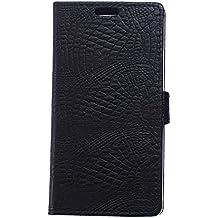 Voguecase® Para ALCATEL PIXI FIRST 4024D,Funda Carcasa Cuero Tapa Case Cover(cocodrilo-negro) + Gratis aguja de la pantalla stylus universales