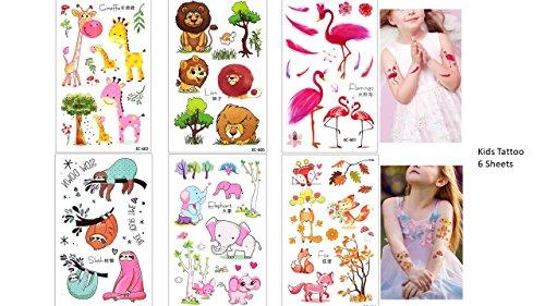 Tatuaggi per bambini, 6 fogli di tatuaggi con animali. perfetti per le feste di compleanno. idea regalo