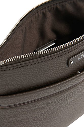BOSS Hugo Boss Leder-Traveler_S-Zip-Beutel One Size Schwarz Braun