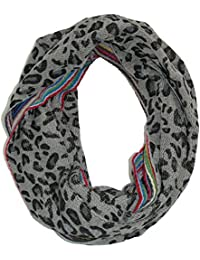 David & Young Womens Stripes and Animal Print Reversible Winter Loop Scarf