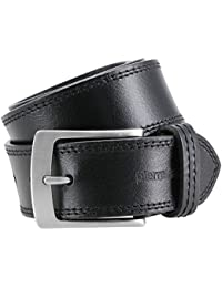 Pierre Cardin Mens leather belt / Mens belt, full grain leather belt XL, black / brown, Größe / Size:130;Farbe / Color:noir
